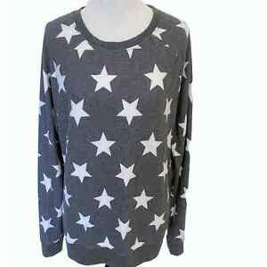 Grayson Threads Women's Large Star Sweatshirt ~  Gray & White Soft Pullover
