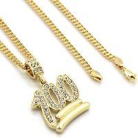 "Mens 14k Gold Plated Emoji 100 Cz Pendant Hip-Hop 30"" 3mm Cuban Chain"