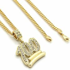 "Mens 14k Gold Plated Emoji 100 Cz Pendant Hip-Hop 30"" 3mm Cuban Chain"