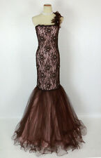 NEW $600 Jovani Brown Nude Prom Formal Gown Long Size 8 Lace One shoulder Dress