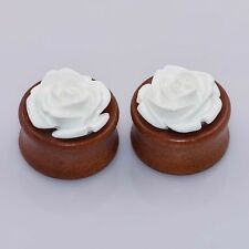 Pair Natural Wood Ear Tunnel Plug Ear Expander Ear Gauges Flower Hollow Piercing