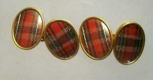 Vintage MADE IN ENGLAND GOLD GILT RED TARTAN PLAID OVAL DOUBLE SIDED CUFFLINKS
