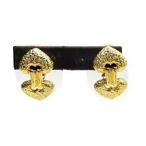 LES BERNARD Heart Clip Drop Earrings Jewelry Modernist Textured HIGH END