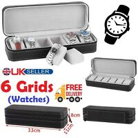 6 Slot Portable PU Leather Watch Box Holder 6 Grids Carry Case Zip Up Closure UK