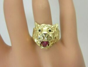 14k Yellow Gold Ruby Sapphire Tiger Panther Cat Ring Mens or Ladies Pinky