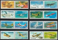 AIRCRAFT = PLANE = JET = COMPLETE SERIES of 8 pairs Canada 1979-1982 MNH