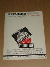 """Advise & Consent"" 1962 film sheet music (Henry Fonda/Charles Laughton)"