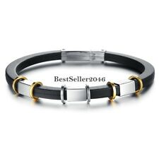 6mm Punk Style Stainless Steel Black Silicone Bangle Men's Bracelet 7.87 Inches
