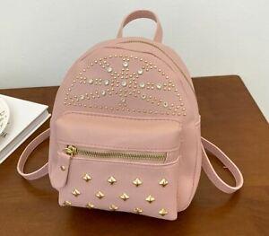 Girls Zipper Backpack Large Capacity Rivet Decoration Teen Shoulder Bag Mochila