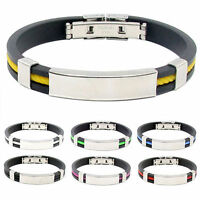 Men&Women Attractive Stainless Steel Rubber Wristband Bangle Clasp Bracelet
