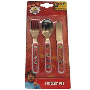 Ryan's World 3 Piece Metal Cutlery Set Red Titan, Gus, Combo Panda - Re-usable