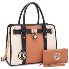 New Women Faux Leather Work Satchel Handbags ToteShoulder Bag Padlock Day Purses