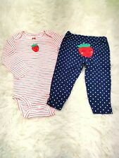 Baby girl Carter's strawberry 2 piece outfit Size 12 Months