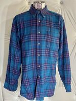 Pendleton Mens Medium Shirt Button 100% Virgin Wool Flannel Blue Red