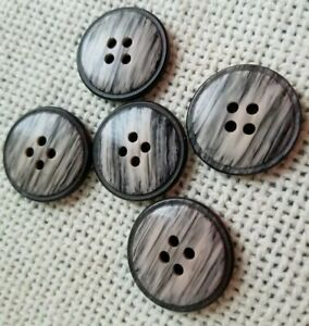 5 Vtg Bakelite Buttons Gray with Beige Marbling 7/8 Inch Round 4 Hole