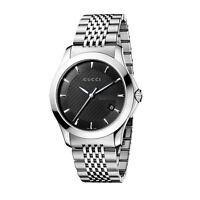 New Gucci G-Timeless Black Dial Stainless Steel Bracelet YA126402 Mens Watch