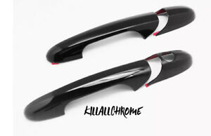 Black Glossy Door Handles Cover Trim Set For 2007-up Fiat 500 Abarth