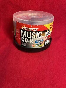 New Sealed Memorex CD-R 25 pack 700mb 80 min 16x Speed W/Storage Case 5 Colors