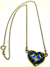 DAVID ANDERSEN STERLING SILVER ENAMEL HEART BLUE GREEN NORWAY CHAIN NECKLACE