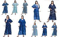 Indigo Blue Beach Cover Up Kaftan Boho Hippy New Indian Plus Size Women Dress