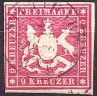 "Wuerttemberg 14a, 9 Kr, gestempelt, geprueft ""Thoma BPP"", ;i: 00 € #e99h"