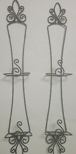 """Set of 2 Wrought Iron Wall Hanging Holds 2 Each Collectible Plate Racks 33"""" T"""