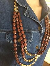 Chicos Womens Gold Brown 3 Strand Long Necklace Boho 70's theme