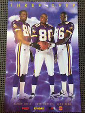 Minnesota Vikings Poster | RANDY MOSS | CRIS CARTER | JAKE REED | Three 3 Deep