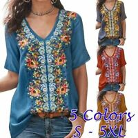 Summer Women Casual Short Sleeve T Shirt V Neck Floral Tops Size Plus Blouse