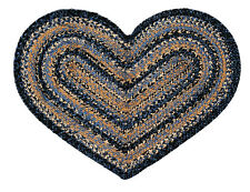 "IHF Home Decor Braided Rug Heart Shaped 20"" x 30"" Jute River Shale Design"