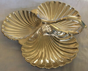3 Shell Silver Plated Serving Dish.