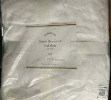 "Pottery Barn Flounced Linen Bed Skirt, King, White 20"" drop New with tags"
