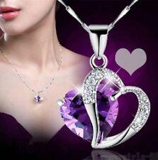 HOT Fashion Women Heart Crystal Rhinestone Silver Chain Pendant Necklace Jewelry