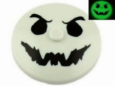 LEGO - Dish 4 x 4 Inverted - w/ Black Ghost Face Pattern (Glow in the Dark)