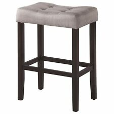 Espresso Backless Bar Stool with Grey Fabric Seat by Coaster - Set of 2