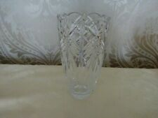 Lead Crystal Cut Glass Patterned Vase 19cm Tall