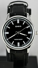Casio MTP-V005L-1A Mens Analog Silver Tone Watch Black Leather Band New