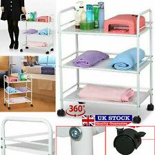 Heavy Duty 3 Tier Side Trolley Cart Beauty Salon Shelf Kitchen Storage Rack UK