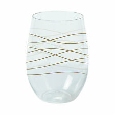Wavy Stemless Plastic Wine Glasses - Party Supplies - 6 Pieces