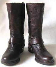 MIU MIU Brown Pebbled Leather Croc Embossed Patchwork Biker Boots, Sz 38.5