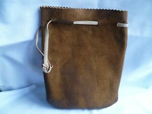 VINTAGE SUEDE LEATHER POKEY BAG FOR FISHING REEL FLY TROUT SALMON