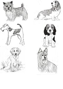 Dog rubber stamps - unmounted red rubber  - 8 styles Beagle - terrier - Scottie