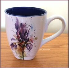 IRIS MUG WATERCOLOR STONEWARE BY DEAN CROUSER 16 OZ FREE U.S. SHIPPING