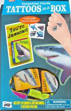Kids Children Valentines Sharks Temporary Tattoos and Cards 2 Dozen Unisex