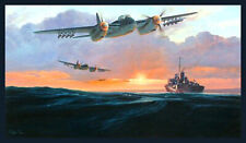 RAF 143 Squadron de Havilland Mosquito Banff Raiders print ltd edition signed