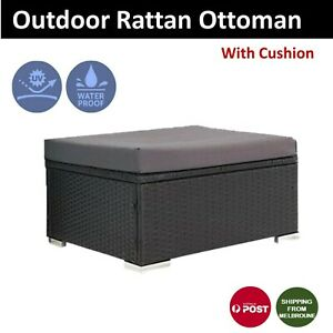 Outdoor Ottoman 1Pc Wicker Furniture Garden Lounge Foot Stool Black With Cushion