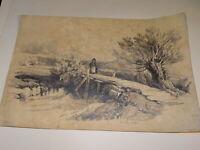 ent. Jules COIGNET (1798-1860) GRAND DESSIN CRAYON ARBRE PAYSAGE BARBIZON 1838