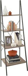 ClosetMaid 1316 4-Tier Wood Ladder Shelf Bookcase, Gray (Damage Shelf)