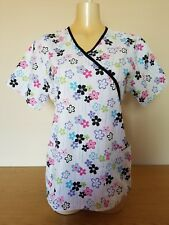 SB Scrubs Top Sz M Flower with Black Trim, EUC