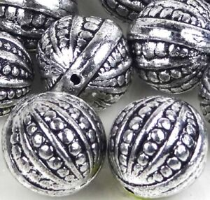 8 Large Antique Silver Metal Plated Acrylic Round Ball Beads 20mm